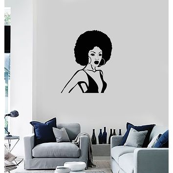 Vinyl Wall Decal Black Lady Beautiful African American Woman Stickers Mural (ig6021)