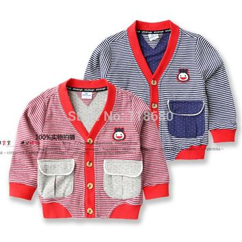 new 2014 spring autumn children outerwear baby clothing kids jackets sweatshirt child cardigan cool striped baby boy coat