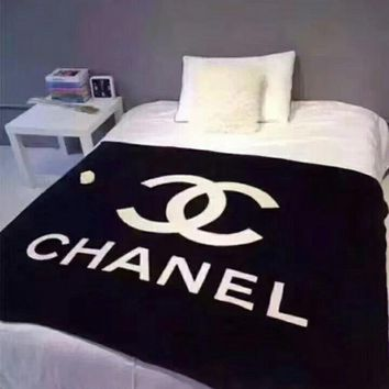 CHANEL Conditioning Throw Blanket Quilt For Bedroom Living Rooms Sofa Warm Flannel