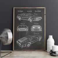 McFly Car Poster, Doc Brown Car Poster, DeLorean Poster, DeLorean Print,McFly Car Print,Back to The Future,McFly Car Decor, INSTANT DOWNLOAD