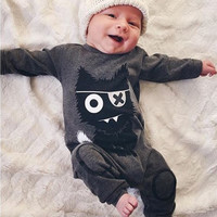 New 2017 Autumn baby boy clothes Unisex Long sleeve little monsters baby Romper Newborn toddler baby girl clothing set