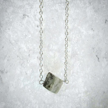 Minimal Cube Necklace; Small Stone Necklace; Square Necklace; Grey; Geometric Jewelry; Modern; Simple; Gift for Her; Unique Square Pendant