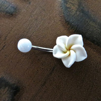 Hawaiian Flower Plumeria Belly Button Ring Navel Stud Jewelry Bar Barbell Piercing White