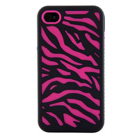Hybrid Zebra Impact iPhone 4 / 4S Armor Case - Black Hot Pink Zebra