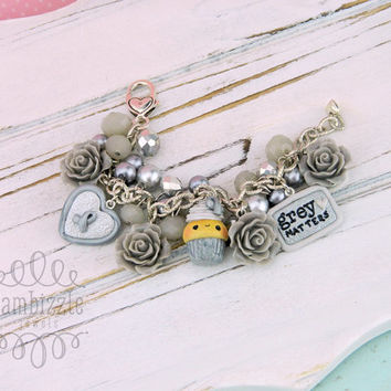 grey matters awareness bracelet, grey awareness bracelet, silver awareness bracelet, awareness cupcake