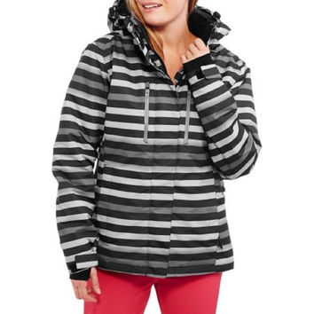 Iceburg Women's Bounty Insulated Snowboard Jacket, Blk/Whte/Grey Stripes, Small