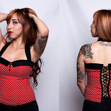 Rockabilly/ Psychobilly/ Retro Red Polkadot Corset Top with Sailor Collar sz.xs, s, m, l, xl