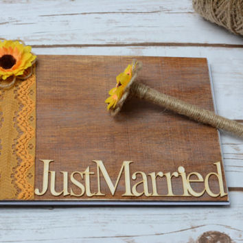 Rustic Guest Book Sunflower Guestbook Pen Burlap Wedding Wooden Advice Vow Book Mr Mrs Guest Book