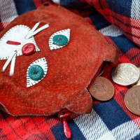 Cat Coin Purse / Red Suede Change Purse / Soviet Vintage Leather Wallet / Cute Zipped up Kitsch Kitty Face
