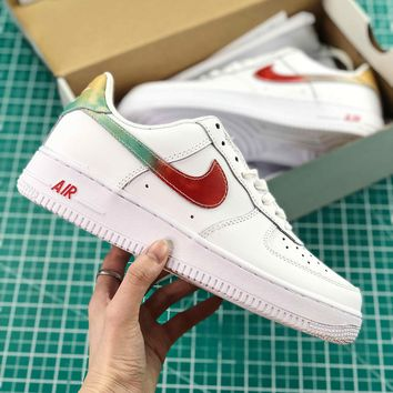 Nike Air Force 1 07 Leather White Rainbow Sport Shoes - Best Online Sale