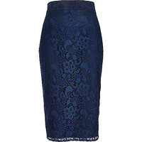 River Island Womens Navy lace pencil skirt