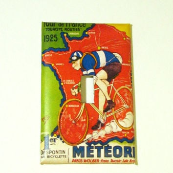 Light Switch Cover - Light Switch Plate Tour De France Bicycle Race Vintage Poster