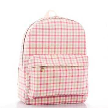 Fashion Print Stylish Plaid Pink Backpack = 4887744900