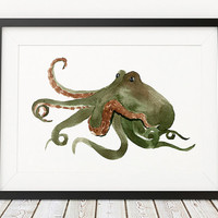 Octopus poster Nautical print Watercolor print Nursery decor ACW523