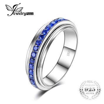JewelryPalace Fashion 0.92ct Created Blue Spinel Gear Rotate Ring 925 Sterling Silver Anniversary Rings For Women Fine Jewelry