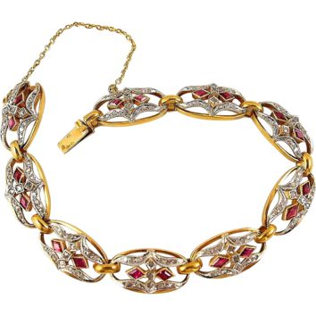 Remarkable Art Nouveau French platinum and 18K solid gold bracelet, Rubies and diamonds, fully hallmarked