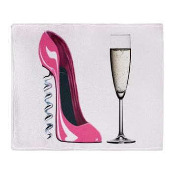 Corkscrew Pink Stiletto Shoe and Champagne Glass