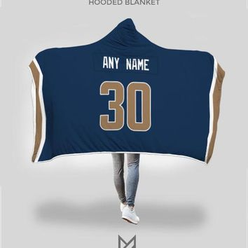 Los Angeles Rams Hooded Blanket - Personalized Any Name & Any Number