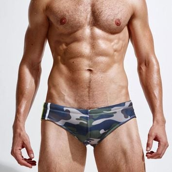 Superbody Brand Camouflage swimming trunks Sexy Swimwear Mens Swimming Trunks Summer Men's Swim Brief Patchwork Gay Swimsuits