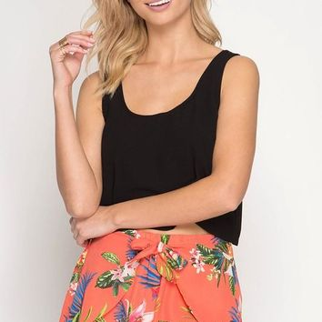 Tropical Print Shorts with Tie Front - Coral