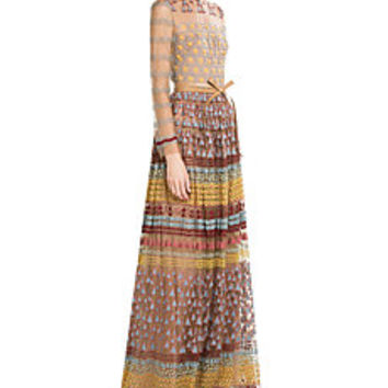 Valentino - Embroidered Floor Length Gown with Belt