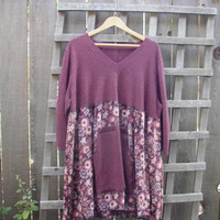 Upcycled Sweater Dress/ Funky Eco Dress/ 3/4 Sleeve Frock Holly Hobby Womens Dresses