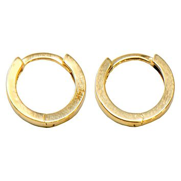 14k Gold Classic Small Square-Tube Huggie Hoop Earrings (2.65mm Thick), 12.7mm