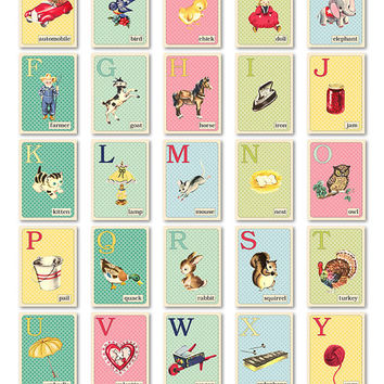 "Digital pastel retro-style ABC flashcards / alphabet flash cards/ downloadable / printable / 3"" by 4.2"" / vintage style illustrations"