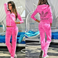 Adidas Fashion Velvet Leisure Long Sleeve Hoodie Pants Set Two-Piece