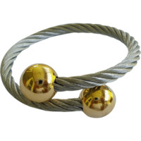 Stainless Steel Twisted Cable Cuff Bracelet for Women Half Round Gold Tips