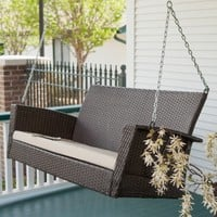 Coral Coast Soho Wicker Porch Swing with Cushion | www.hayneedle.com