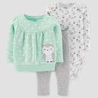Baby Girls' 3pc Cotton Owl Dot Set - Just One You™ Made by Carter's® Light Green