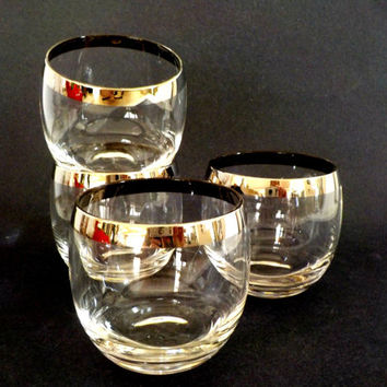 Set of 4 Silver Rimmed Roly Polys, Dorothy Thorpe Lowballs, Mid Century Barware, Retro Barware, Silver Rimmed Barware