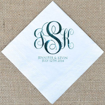 Monogrammed Napkins with Names and Date - Set of 100