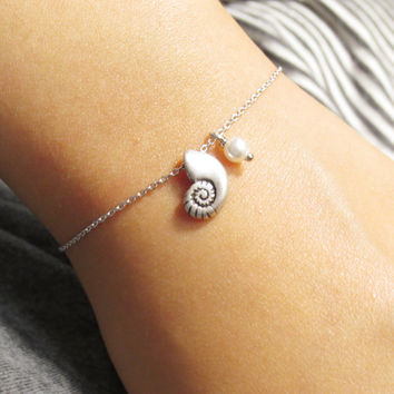 Ariel, Voice, Seashell, Pearl, Silver, Bracelet, Little, Mermaid, Bracelet, Mermaid, Shell, Silver, Shell, Gift, Jewelry
