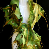 Felted Scarf Ruffle Olive Green Moss Green Holes by silkshop