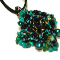 Hand Wired Turquoise, Peacock Pearls Vintage Beads & Black Opal Necklace