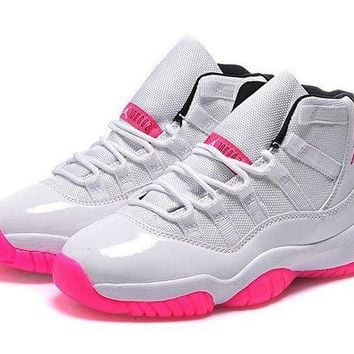 DCCKL8A Jacklish Womens Jordan 11 Gs White Pink Online For Sale