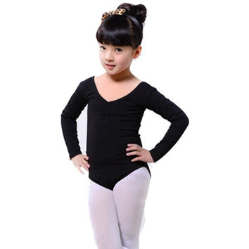 Long Sleeve Leotard Costume Girls Kid Ballet Dance Gymnastics Skating Dancewear L-4XL SM6
