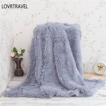Blanket for Children Double-layer Shaggy Blanket Crystal Plush Throw Blankets Decorative Plaids on The Couch and Armchair Grey