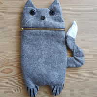 Grey Cute Felt Cat Zip Purse, Makeup Bag, Coin Purse, Small Accessory Pouch FREE SHİPPİNG
