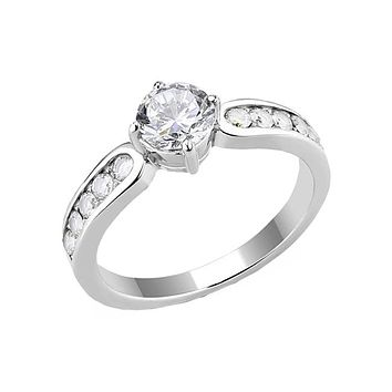 Made For You - Women's Stainless Steel CZ Engagement Ring