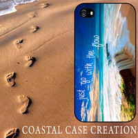 Beach Just Go With The Flow Quote Apple iPhone 4 and 5 Hard Plastic or Rubber Cell Phone Case Cover Trendy Stylish Design