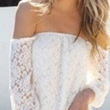 Women's Sexy Off The Shoulder Long Sleeve Lace Blouse = 1930401732