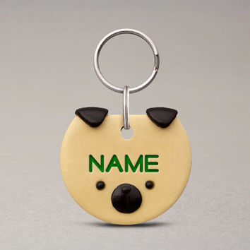 Pug Dog ID Tag - Custom Name Tag, For Dogs, Cute Accessories