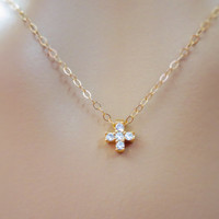 Tiniest cz cross goldfilled necklace, cross necklace, mini, petit, small cross, jewelry for her, dainty necklace, gift necklace