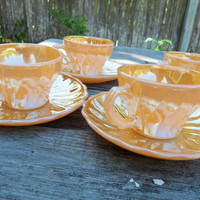 Vintage Fire King Peach Lustre Tea Cup // Set of 4