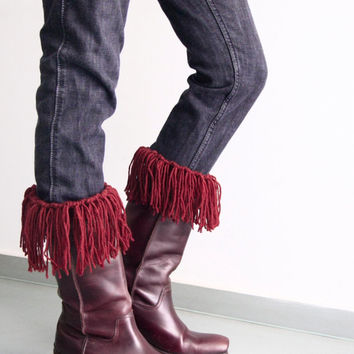 Fringe boot cuffs in burgundy, boho boot cuffs, fringe leg warmers, fringe boot toppers