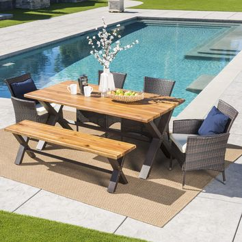 Trellis Outdoor 6 Piece Acacia Wood Dining Set with Wicker Dining Chairs