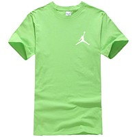 NIKE Jordan Summer New Fashion People Print Women Men Top T-Shirt Green